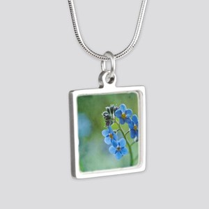 Tiny blue forget-me-not fl Silver Square Necklace