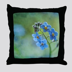 Tiny blue forget-me-not flowers. Throw Pillow