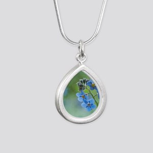 Tiny blue forget-me-not  Silver Teardrop Necklace