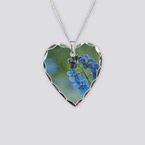 Tiny blue forget-me-not flowe Necklace Heart Charm