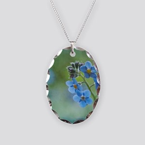 Tiny blue forget-me-not flower Necklace Oval Charm