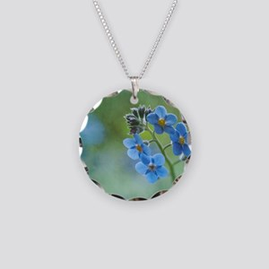 Tiny blue forget-me-not flow Necklace Circle Charm