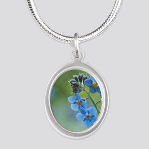 Tiny blue forget-me-not flowe Silver Oval Necklace