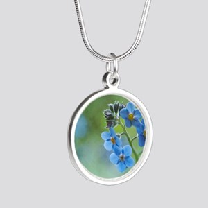 Tiny blue forget-me-not flow Silver Round Necklace