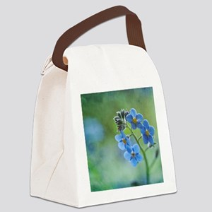 Tiny blue forget-me-not flowers. Canvas Lunch Bag
