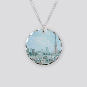 Tokyo Tower and skyline, Jap Necklace Circle Charm