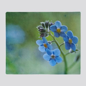 Tiny blue forget-me-not flowers. Throw Blanket