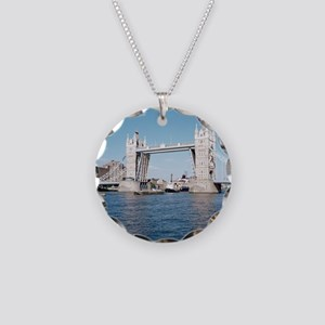 Tower bridge over the River  Necklace Circle Charm