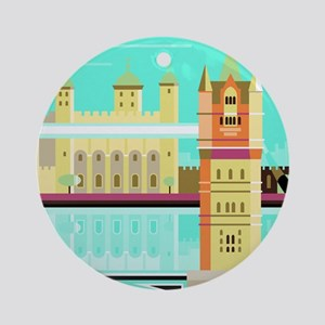 Tower Bridge and the tower of Londo Round Ornament
