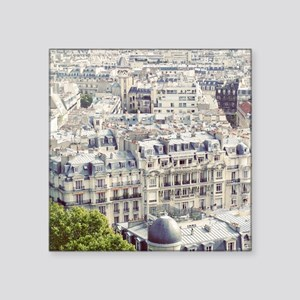 "View of roofs of Paris. Square Sticker 3"" x 3"""