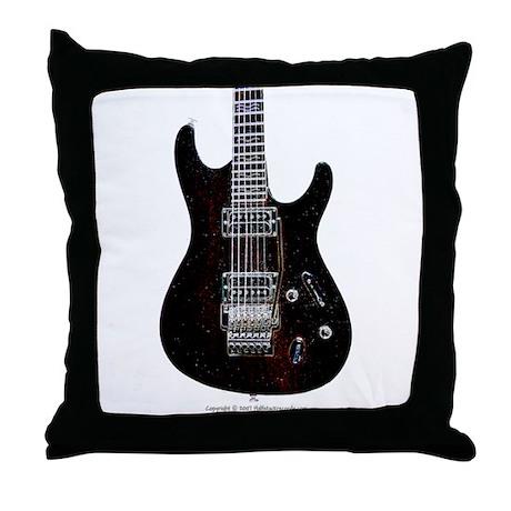 """GlowingEdges"" Guitar Throw Pillow"