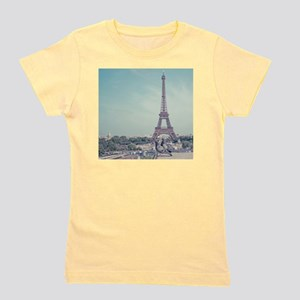 Two love birds with view of Eiffel towe Girl's Tee