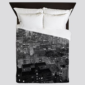 View of New York City buildings at nig Queen Duvet