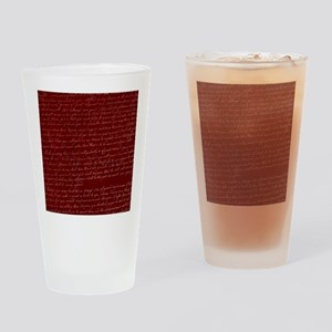 Red Script Drinking Glass