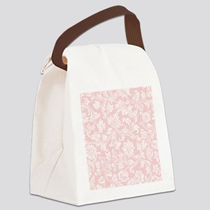 Pink and White Damask Canvas Lunch Bag