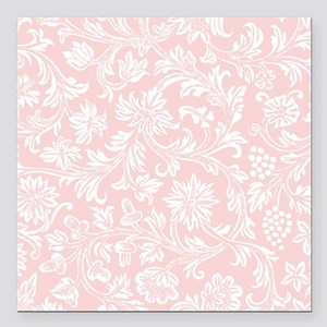 """Pink and White Damask Square Car Magnet 3"""" x 3"""""""