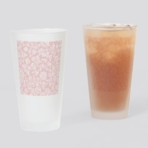 Pink and White Damask Drinking Glass