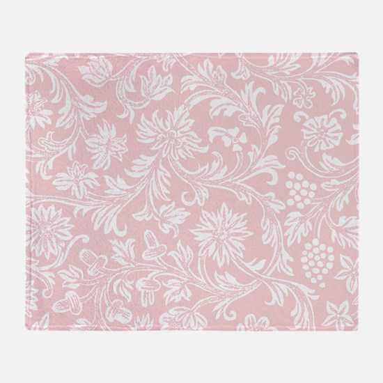 Pink and White Damask Throw Blanket