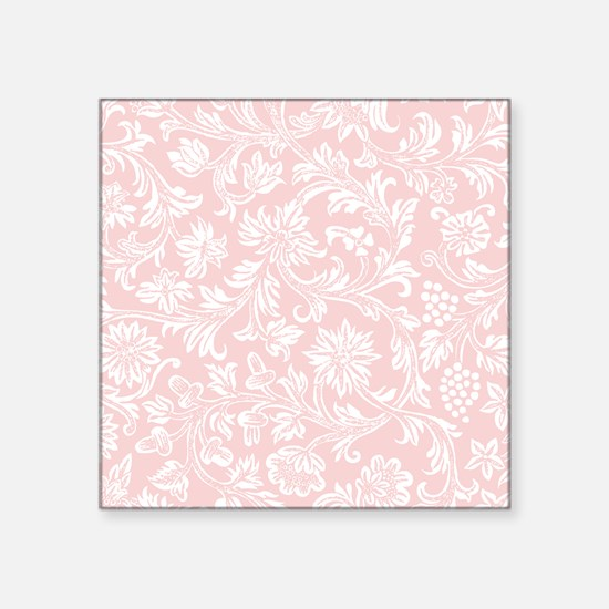"Pink and White Damask Square Sticker 3"" x 3"""