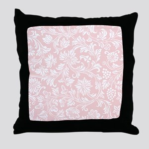 Pink and White Damask Throw Pillow