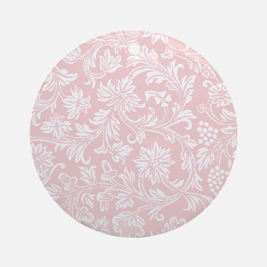 Pink and White Damask Round Ornament