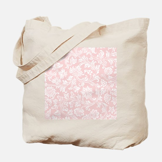 Pink and White Damask Tote Bag