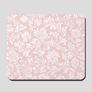 Pink and White Damask Mousepad