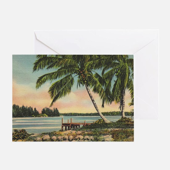 Vintage Coconut Palms Greeting Card