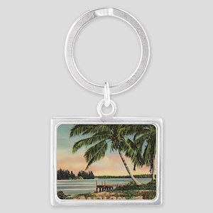 Vintage Coconut Palms Landscape Keychain
