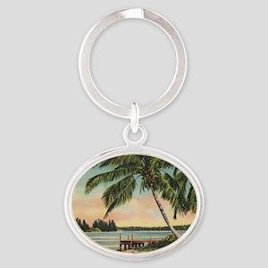 Vintage Coconut Palms Oval Keychain