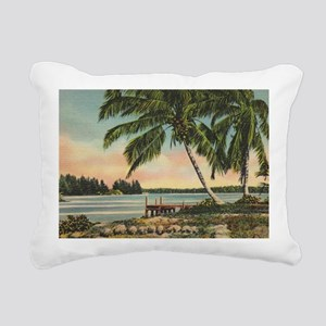 Vintage Coconut Palms Rectangular Canvas Pillow