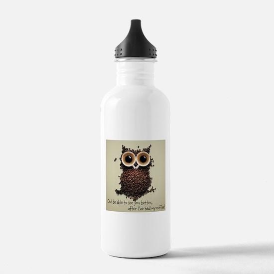 Owl says COFFEE!! Water Bottle