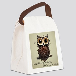 Owl says COFFEE!! Canvas Lunch Bag
