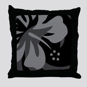 Black 60 Curtains Throw Pillow