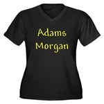 Adams Morgan Women's Plus Size V-Neck Dark T-Shirt