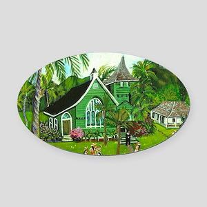 Waioli Church Oval Car Magnet