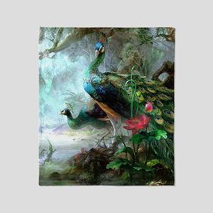 Beautiful Peacock Painting Throw Blanket