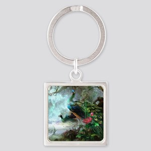 Beautiful Peacock Painting Square Keychain