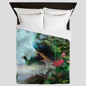 Beautiful Peacock Painting Queen Duvet