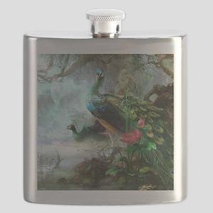 Beautiful Peacock Painting Flask