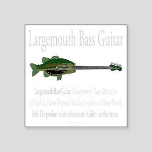 "Largemouth Bass Guitar Square Sticker 3"" x 3"""