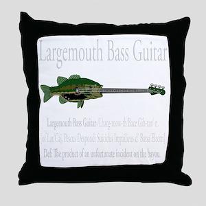 Largemouth Bass Guitar Throw Pillow