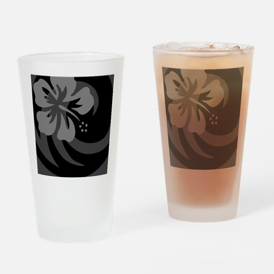 Black Ornament (Round) Drinking Glass