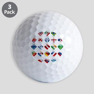 Vector set world flag icons 1 Golf Balls