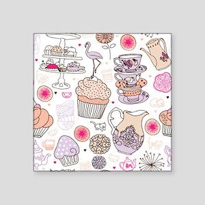 "Seamless high tea cake and  Square Sticker 3"" x 3"""