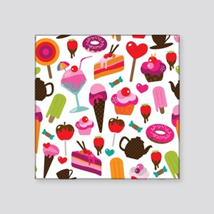 """Seamless party candy ice cr Square Sticker 3"""" x 3"""""""
