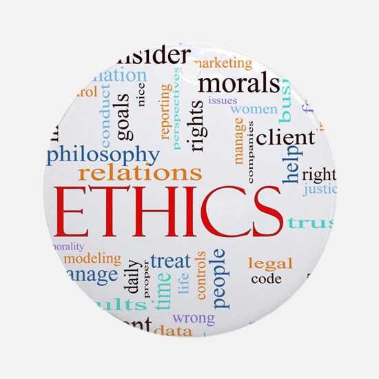 Ethics word concept illustration Round Ornament