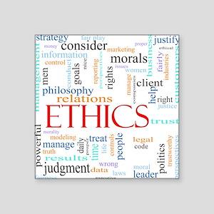 "Ethics word concept illustr Square Sticker 3"" x 3"""