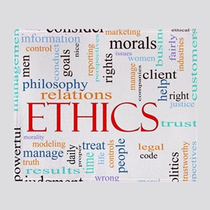 Ethics word concept illustration Throw Blanket