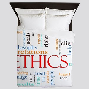 Ethics word concept illustration Queen Duvet